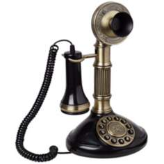 "Antique Brass 12"" High Candlestick Phone"