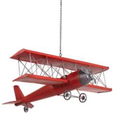Red Metal Hanging Model Airplane