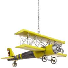 Yellow Metal Hanging Model Airplane