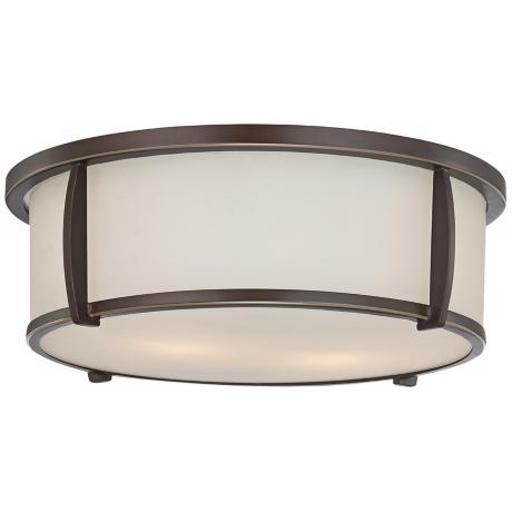 "Quoizel Calhoun 13"" Wide Flushmount Bronze Ceiling Light"