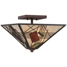 "Quoizel Russell Hazel 14 1/2"" Wide Bronze Mica Ceiling Light"