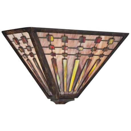 "Quoizel Banks 14"" Wide Tiffany Bronze Wall Sconce"