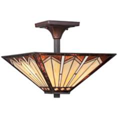 "Quoizel Tanner 14"" Wide Tiffany Mission Style Ceiling Light"