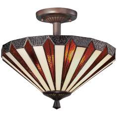 "Quoizel Marquis 14"" Wide Tiffany Style Ceiling Light Fixture"