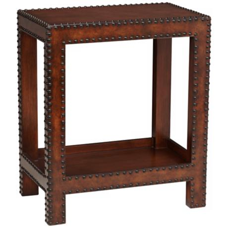 Sahara Faux Leather Chair Side Table With Nail Head Details