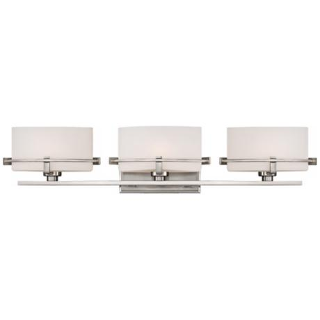 "Quoizel Nolan 26 1/2"" Wide 3-Light Brushed Nickel Bath Light"
