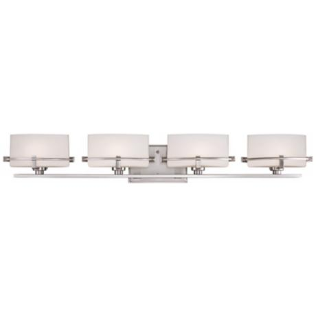 "Quoizel Nolan 35 1/2"" Wide 4-Light Brushed Nickel Bath Light"