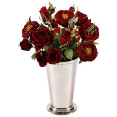 "Jane Seymour 12"" Red Silk Roses in Chrome Vase"