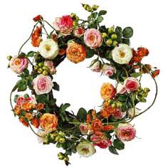 "Jane Seymour 16"" Silk Garden Rose Wreath"