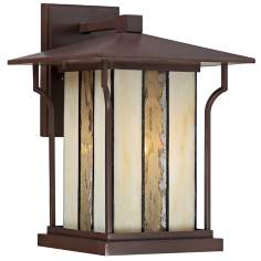 "Quoizel Langston 9"" Wide Chocolate Bronze Outdoor Wall Light"