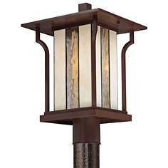"Quoizel Langston 11"" Wide Bronze Outdoor Post Light"