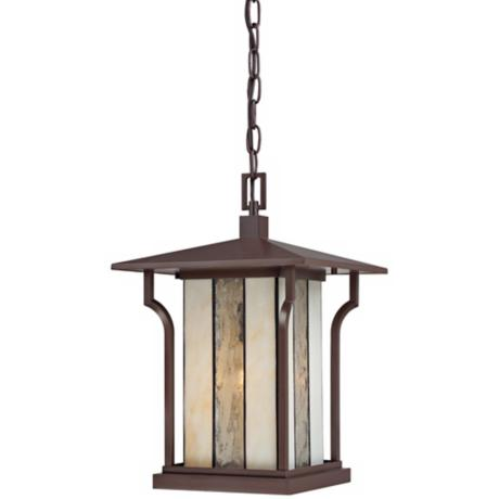 "Quoizel Langston 11"" Wide Bronze Outdoor Pendant Light"