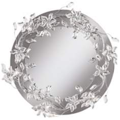 "Crystal Petal  24 1/2"" Wide Lighted Wall Mirror"