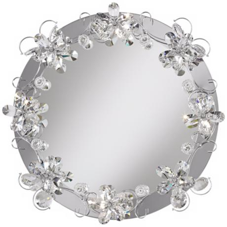 "Crystal Petals 25 5/8"" Lighted Round Wall Mirror"