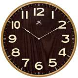 "Arbor II 21"" Round Dark Wood Wall Clock"