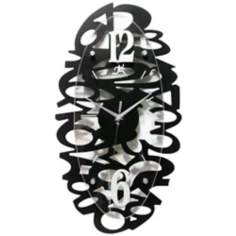 "Black Whimsy 20 1/2"" Oval Wall Clock"