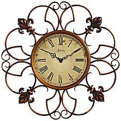 "Province 24"" Round Open Wire Framed Wall Clock"