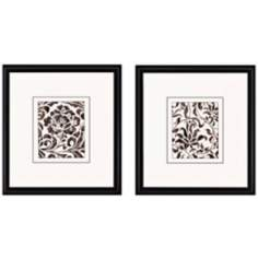 "Set of 2 Textile Fragment II 26"" High Decorative Wall Art"