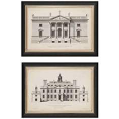 "Set of 2 Vintage Facade II 29"" Wide Architectural Art Prints"