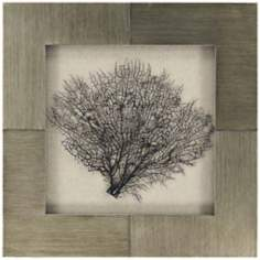 "Coral Branch 24"" Square Decorative Ocean Wall Art"