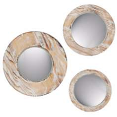Set of 3 Decorative Round Washed Wood Wall Mirrors