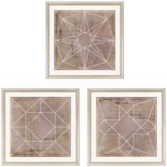 "Set of Three 18"" Square Geometric Wall Art Prints"
