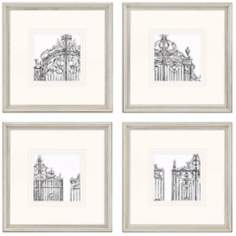 "Set of 4 Gates 14"" Square Decorative Wall Art Prints"