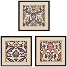 "Set of 3 Persian Tiles 22"" Square Decorative Wall Art"