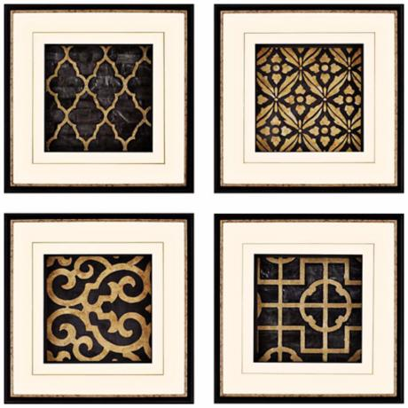 "Set of 4 Ebony 21"" Square Framed Decorative Wall Art Prints"