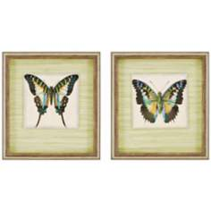"Set of 2 Shadow Box 22"" High Butterfly Wall Art Prints"