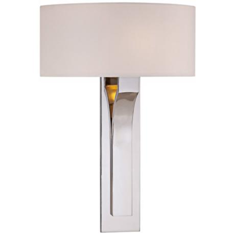 "George Kovacs White Fabric 11 3/4"" Wide Nickel Wall Sconce"