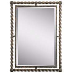 "Uttermost Garrick 35"" High Wrought Iron Wall Mirror"