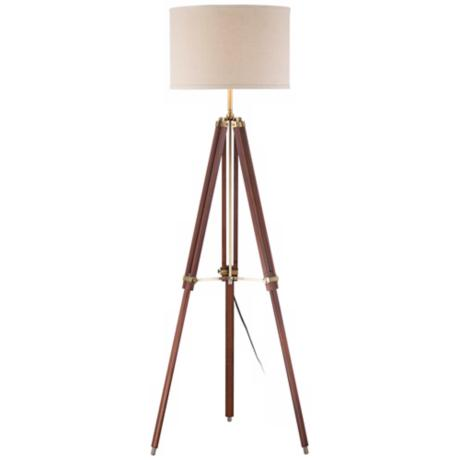 Cherry finish wood surveyor tripod floor lamp w1650 for Surveyors floor lamp wood