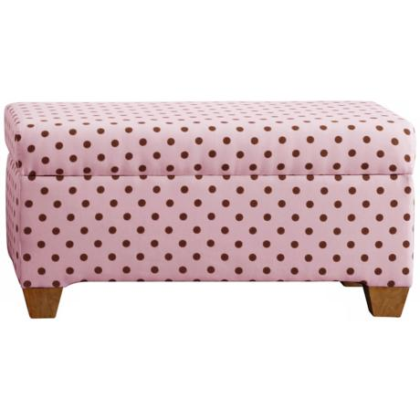 Cari Pink Polka Dot Storage Bench