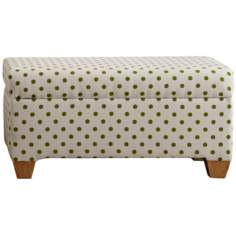 Cari Green Polka Dot Storage Bench