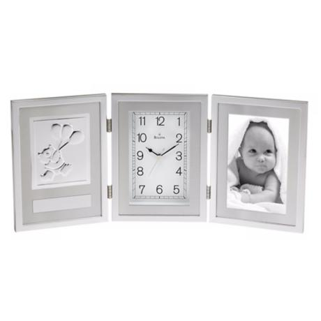 "Chrome Finish 16 1/2"" Wide Picture Frame Bulova Mantel Clock"