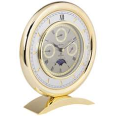"Bulova Multi-Function 8"" High Solid Brass Table Clock"