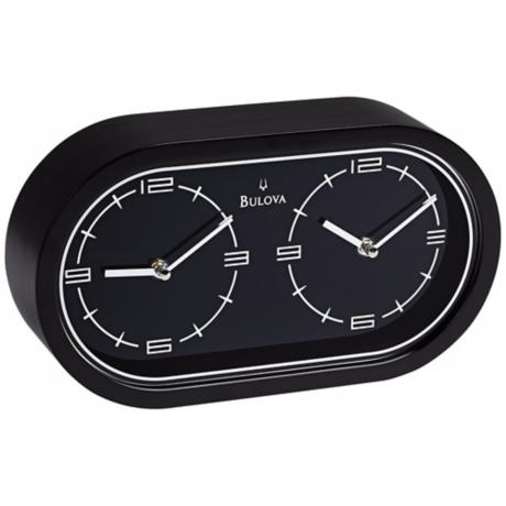 Bulova Black Wood Dual Time Clock