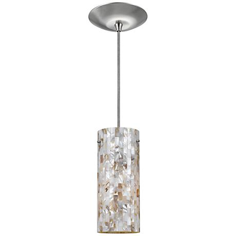 "Mosaic Shell Cylinder 4"" Wide Brushed Steel Mini Pendant"