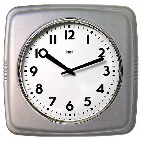 "Satin Silver 9 1/2"" Wide Square Retro Wall Clock"