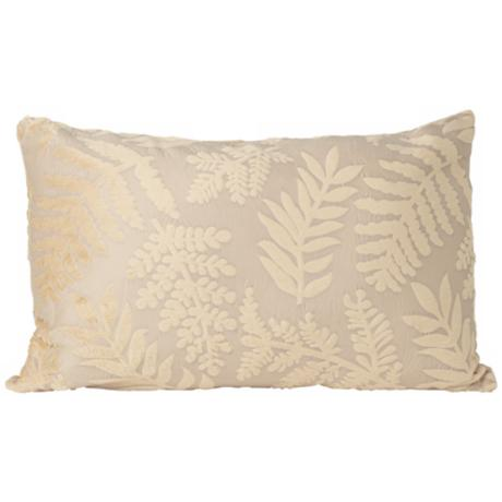 Fern Design Faux Suede Rectangular Designer Throw Pillow
