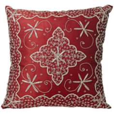 Burgundy Hand-Made Beaded Accent Pillow