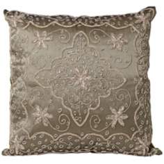 Olive Hand-Made Beaded Accent Pillow