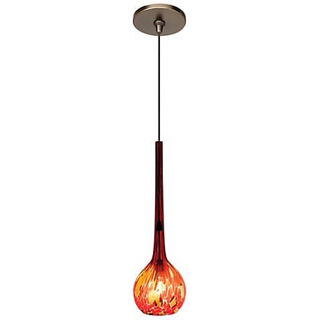 "LBL Madeleine 3 1/4"" Wide Red Art Glass Bronze Mini Pendant"