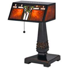 Percy Bronze and Mica Tiffany Style Desk Lamp