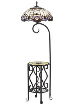 Poppin Tiffany Style Floor Lamp with Tray Table