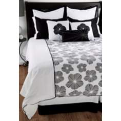 10-Piece Black and White Floral Filled King Bedding Set