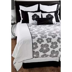 9-Piece Black and White Floral Filled Queen Bedding Set