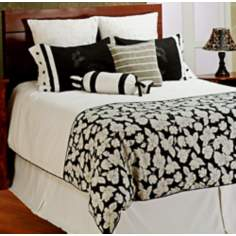 8-Piece Black and White Floral Filled Queen Bedding Set