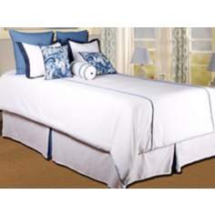 10-Piece White and Blue Filled King Bedding Set